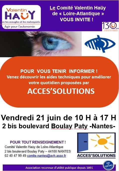 Présentation d'aides techniques par Acces'solutions le 21 juin 2019 de 10h à 17h au comité AVH 2 bis Boulevard Boulay Paty à Nantes