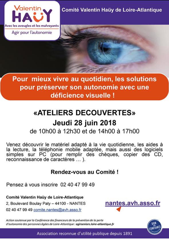 Affiche Atelier Matériel adapté AVH Nantes - 28 juin 2018