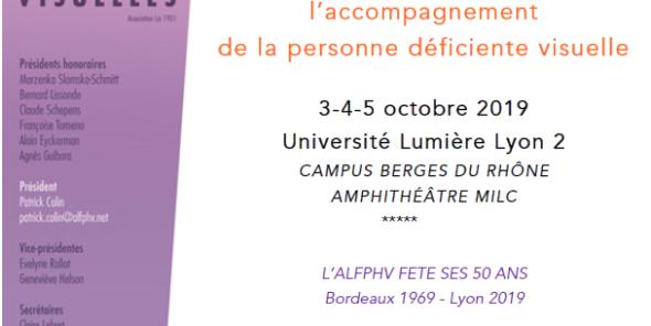 Journées d'Etude de l'ALFPHV du 3 au 5 Octobre 2019 à Lyon