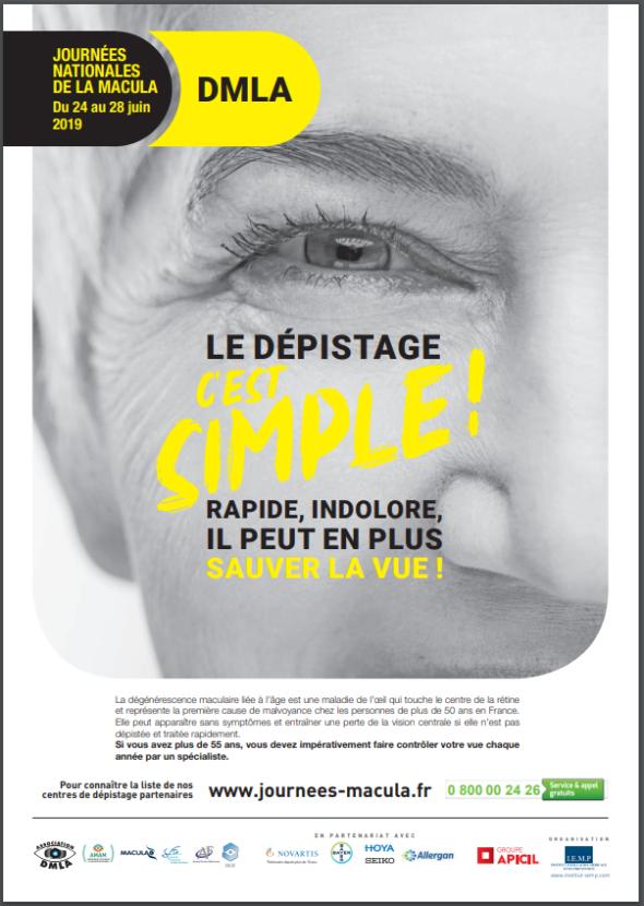 """Affiche de l'association """"les journées nationales de la macula"""" présentant la DMLA - 2019"""