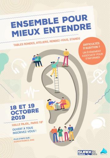 Congrès de Bucodes Ensemble pour mieux entendre les 18 et 19 octobre 2019 Halle Pajol à Paris 18ème - Plus d'info : surdifrance.org