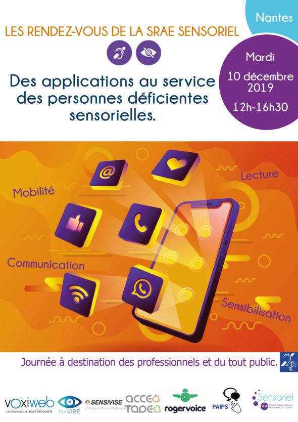 Les rendez-vous de la SRAE Sensoriel : Des applications au service des personnes déficientes sensorielles - à Nantes, mardi 10 décembre 2019 12h-16h30. Journée à destination des professionnels et du tout public.