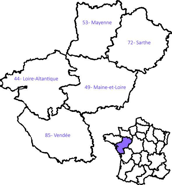 Carte géographique pays de la Loire