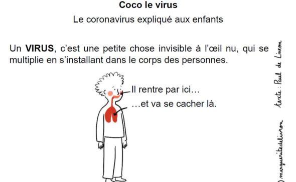Coco le virus. Le coronavirus expliqué aux enfants. Un Virus, c'est une petite chose invisible à l'oeil nu, qui se multiplie en s'installant dans le corps des personnes. (dessin d'un corps) : il par ici (la bouche/nez)... et va se cacher là (les poumons).