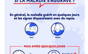 CORONAVIRUS, QUE FAIRE SI LA MALADIE S'AGGRAVE ? En général, la maladie guérit en quelques jours et les signes disparaissent avec du repos : Toux et Fièvre. Si vous avez du mal à respirer et êtes essoufflé, Appelez le 15 ou le 114 (pour les sourds et les malentendants) Vous avez des questions sur le coronavirus ? 0800130000 (appel gratuit) ou gouvernement.fr/info-coronavirus