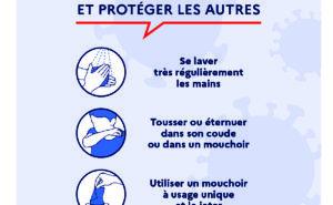 FACE AU CORONAVIRUS : POUR SE PROTÉGER ET PROTÉGER LES AUTRES : Se laver très régulièrement les mains - Tousser ou éternuer dans son coude ou dans un mouchoir - Utiliser un mouchoir à usage unique et le jeter - Saluer sans se serrer la main, éviter les embrassades. Vous avez des questions sur le coronavirus ? 0800130000 (appel gratuit) ou gouvernement.fr/info-coronavirus
