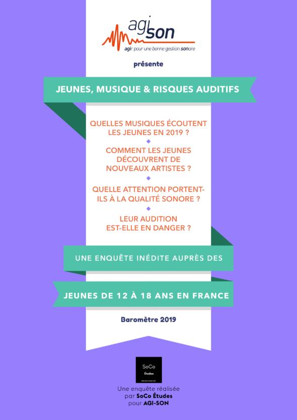 Jeunes, musique et risques auditifs - une enquête inédite auprès des jeunes de 12 à 18 ans en France - Baromêtre 2019 :