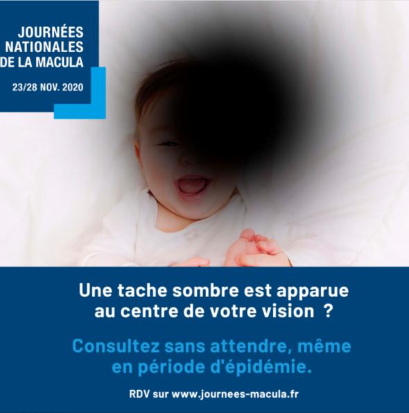 Une tache sombre est apparue au centre de votre vision ? Consultez sans attendre, même en période d'épidémie. RDV sur www.journees-macula.fr