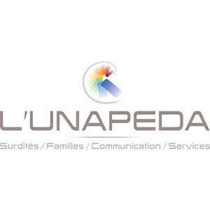 Logo de l'UNAPEDA, surdité, familles, communication, services
